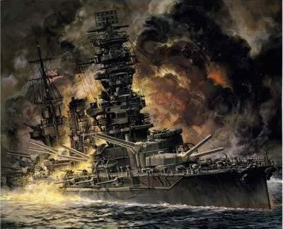 戦艦扶桑 炎上中