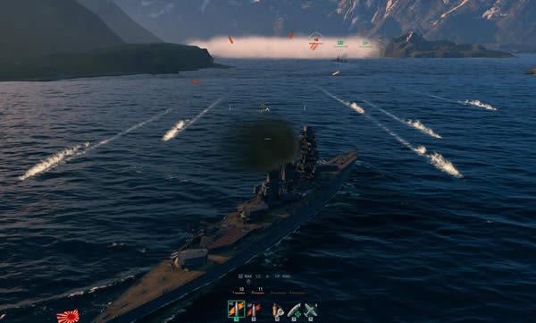 WoWS 戦艦と魚雷とスモーク