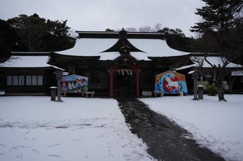 ガールズ&パンツァー 神社大洗雪景色