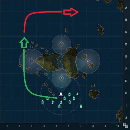 WoWS マップ ランチェスター  パターン1