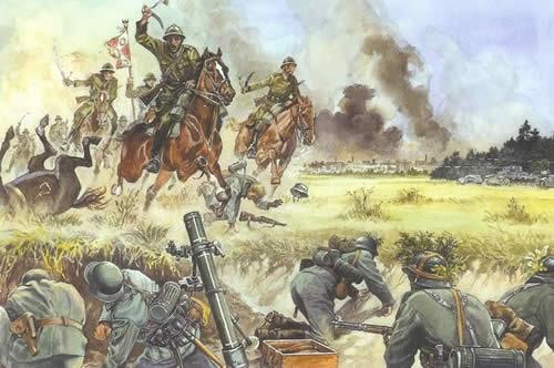 イラスト ドイツ軍に対して突撃するポーランド騎兵隊