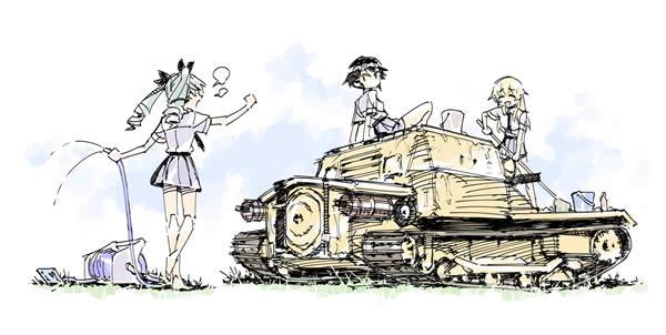 ガールズ&パンツァー アンツィオ高校 アンチョビ ペパロニ カルパッチョ CV33 戦車を洗車する