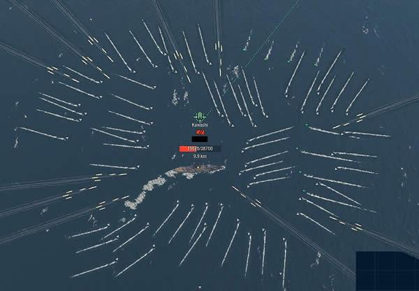 WoWS 戦艦 河内 絶体絶命 四面楚歌 魚雷 砲撃 包囲