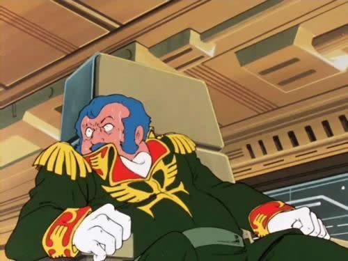 機動戦士ガンダム  コンスコン リックドム12機が3分で全滅して椅子からずり落ちる位動揺しているさま