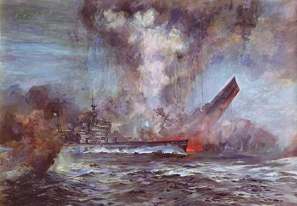 イラスト イギリス 巡洋戦艦 フッド 爆沈