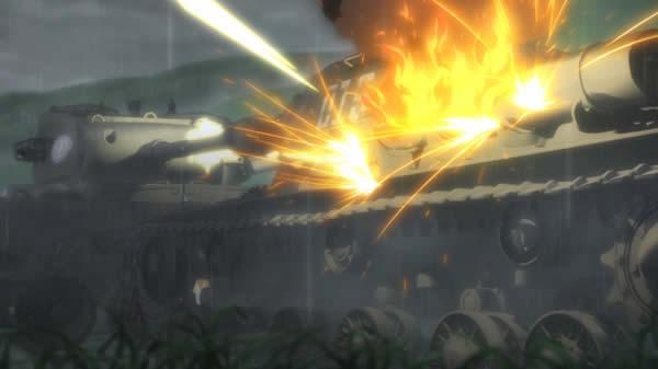 ガールズ&パンツァー パーシング 機銃 IS-2 ノンナ車 燃料タンク炎上