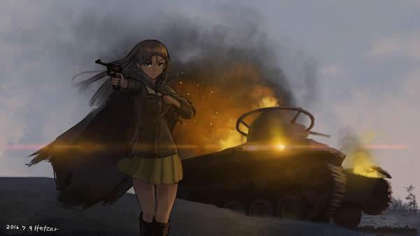 ガールズ&パンツァー 西絹代 知波単学園 炎上する97式中戦車 銃を構える