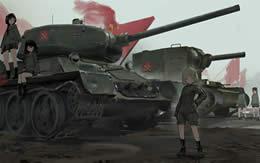 ガールズ&パンツァー プラウダ高校 イラスト カチューシャ T-34/85 KV-2 モブ生徒 サムネイル