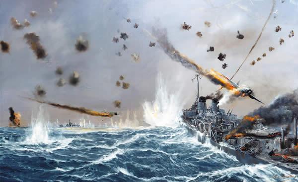 イラスト 神風攻撃を受けるアメリカ駆逐艦ラフェイ