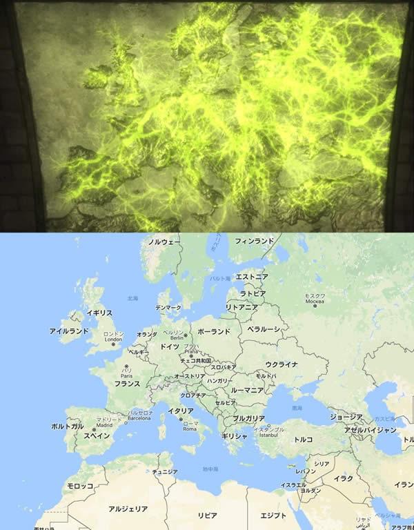 終末のイゼッタ レイライン 分布地図 現在の地図 ヨーロッパ