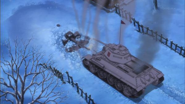 ガールズ&パンツァー Ⅲ号突撃砲 T-34 雪中での待ち伏せ撃破