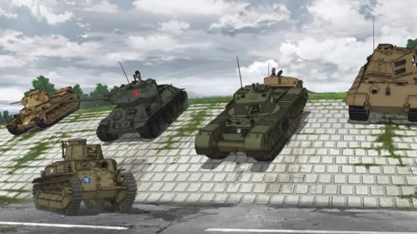 ガールズ&パンツァー 斜面を下る戦車 チャーチル