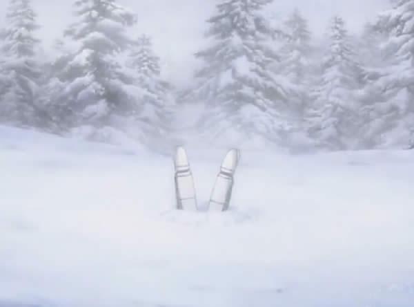 ブレイブウィッチーズ 雁淵ひかり 雪に刺さる