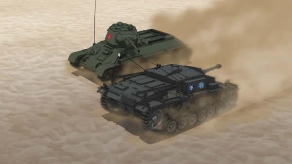 ガールズ&パンツァー Ⅲ号突撃砲 T-34 に側面を取られる あーっ そっちはダメぜよー
