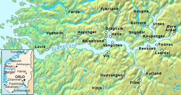 ソグネ・フィヨルド 地図