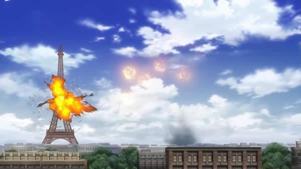 終末のイゼッタ ゾフィーに爆破されるエッフェル塔