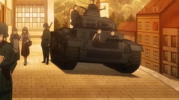 終末のイゼッタ  ゲルマニア 3号戦車 子供を戦車に乗せて遊ばせる 占領地