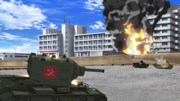 ガールズ&パンツァー KV-2に弾を当てる89式中戦車