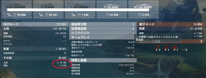 WoWS 夕雲 戦績 04