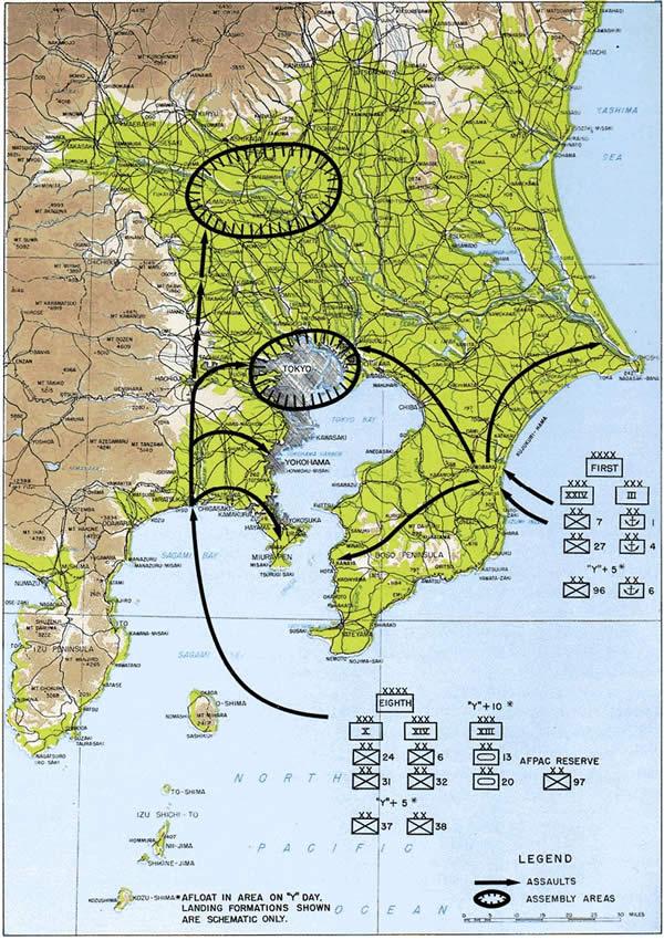 日本本土上陸 コロネット作戦 地図