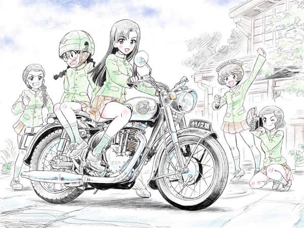 ガールズ&パンツァー 西絹代 福田 バイク 知波単学園