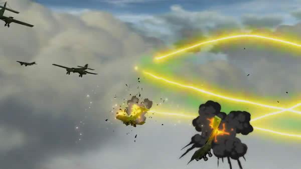 幼女戦記 ターニャ・デグレチャフの誘導魔導弾による攻撃を受ける協商連合爆撃機