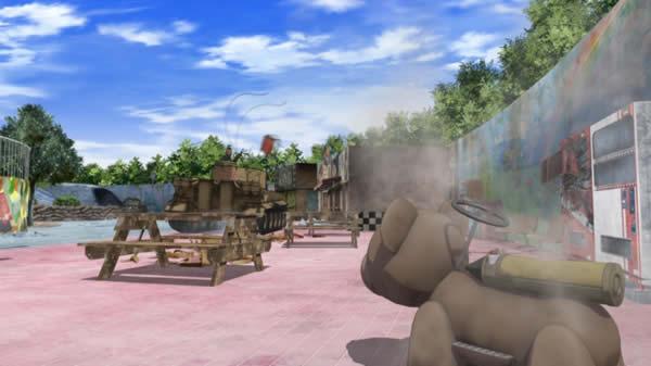ガールズ&パンツァー パンジャンドラム型遊具の座席がヒットしたタイガーⅠ西住まほ車 と ヴォイテク