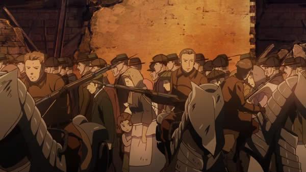 幼女戦記 避難するアレーヌ市民と護衛する共和国軍