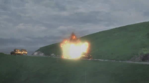 ガールズ&パンツァー カール自走臼砲の直撃を受けるクラーラ T-34/85