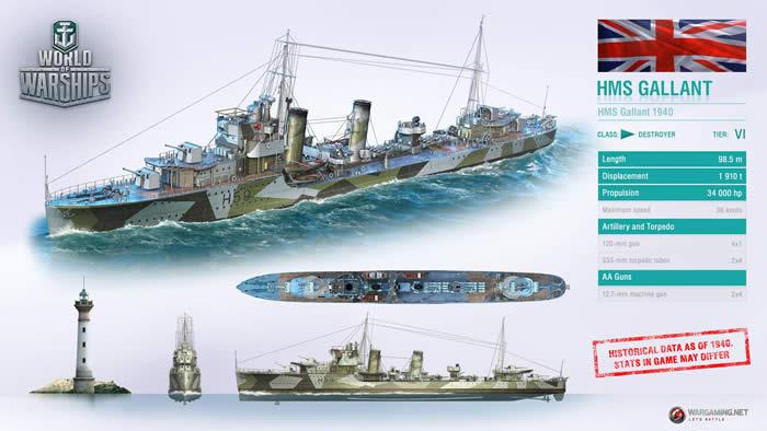 WoWS HMSギャラント イギリス Tier6 駆逐艦