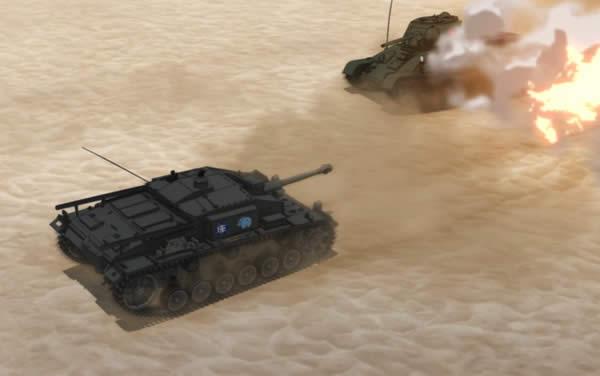 ガールズ&パンツァー 3号突撃砲 カバさんチーム T-34 砂浜