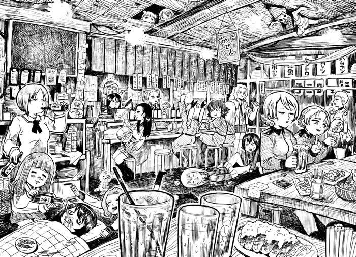ガールズ&パンツァー 飲酒 居酒屋 イラスト 02