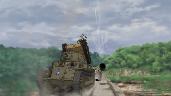 ガールズ&パンツァー アンチョビの脇をかすめるカール自走臼砲の砲弾