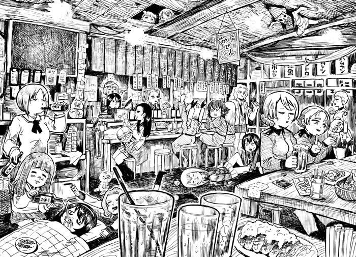 ガールズ&パンツァー 飲酒 居酒屋 イラスト 03