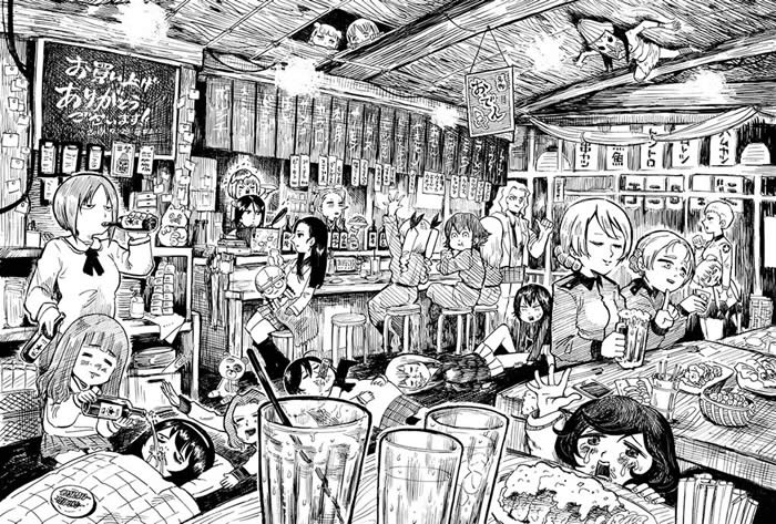 ガールズ&パンツァー 飲酒 居酒屋 イラスト 04