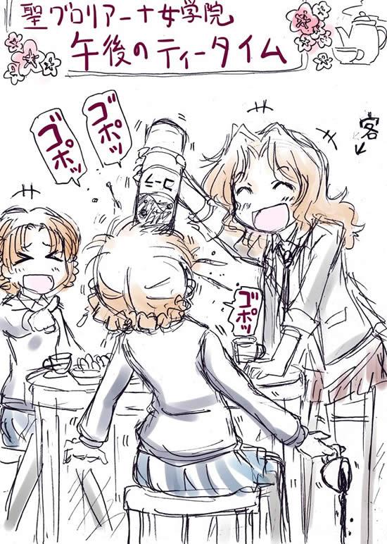 ガールズ&パンツァー  ケイにコーラを飲まされるダージリン オレンジペコ爆笑する
