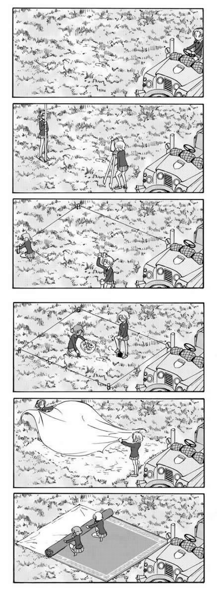 ガールズ&パンツァー ダージリン オレンジペコ 設営 漫画 001