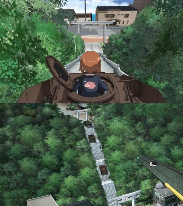 ガールズ&パンツァー 鳥居 西住みほ 4号戦車で神社の階段を下るところ