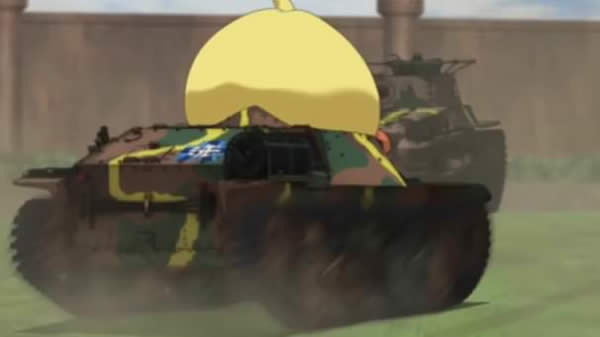 ガールズ&パンツァー 知波単学園の戦車に 大洗女子学園のマークが… アヒル