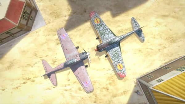 荒野のコトブキ飛行隊 零戦32型ナオミ機 隼キリエ機