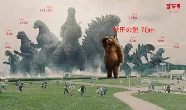 ゴジラ 秋田の熊 比較