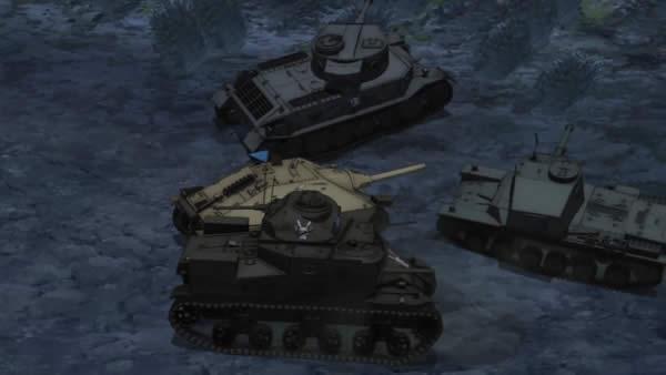 ガールズ&パンツァー 最終章 第2話 ヘッツァーを守る ポルシェティーガー M3リー 三式中戦車
