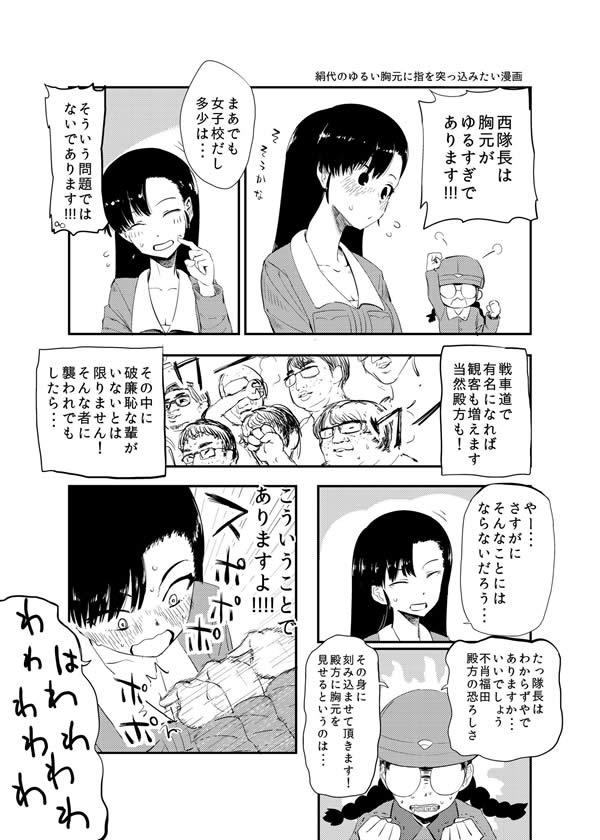 ガールズ&パンツァー 西絹代 胸元 おっぱい 谷間 福田 漫画