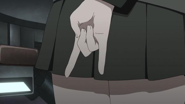 ガールズ&パンツァー 島田愛里寿 お尻 ハンドサイン 狐のポーズ?