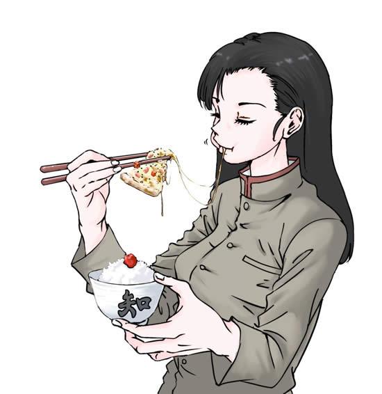 ガールズ&パンツァー 西絹代 ピザ 箸 ご飯