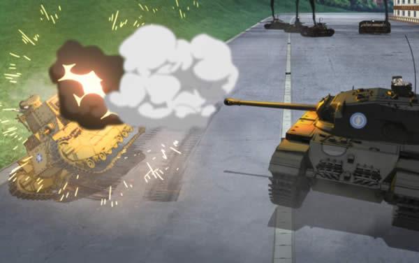 ガールズ&パンツァー センチュリオンに砲撃される八九式中戦車 磯辺典子